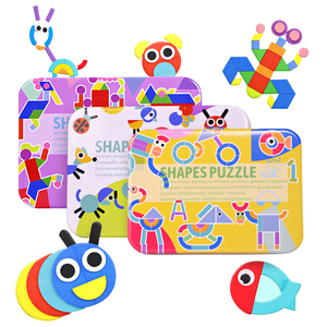 2019 new wooden toy creative jigsaw puzzle iron box animal shape puzzle Montessori early education educational toys for children