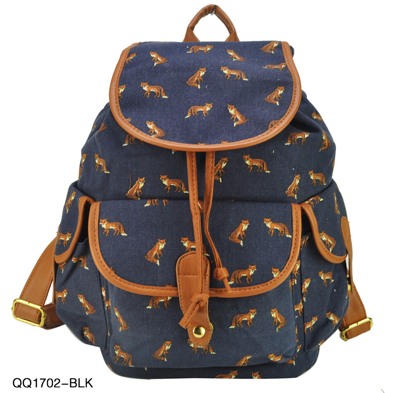 Newest Multicolour Styles Animal Print Backpack For Girl Women Leisure Bag Canvas School Bags QQ1702