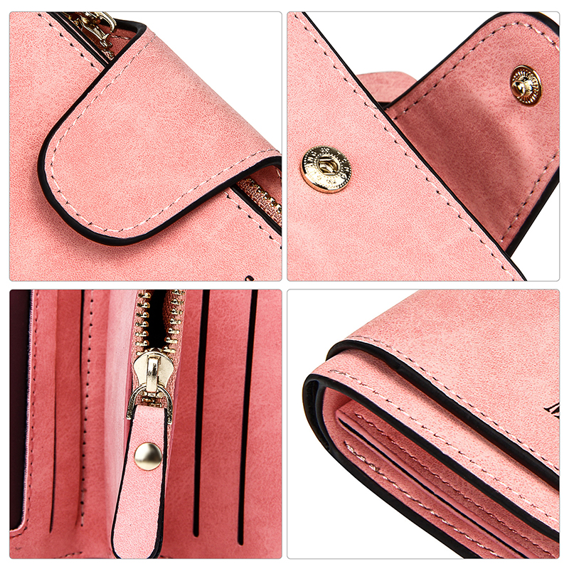 New Brand Leather Women Short Wallets Designer Zipper Small Wallet Women Card Holder Ladies Purse Money Bag Carteira Feminina in Wallets from Luggage Bags