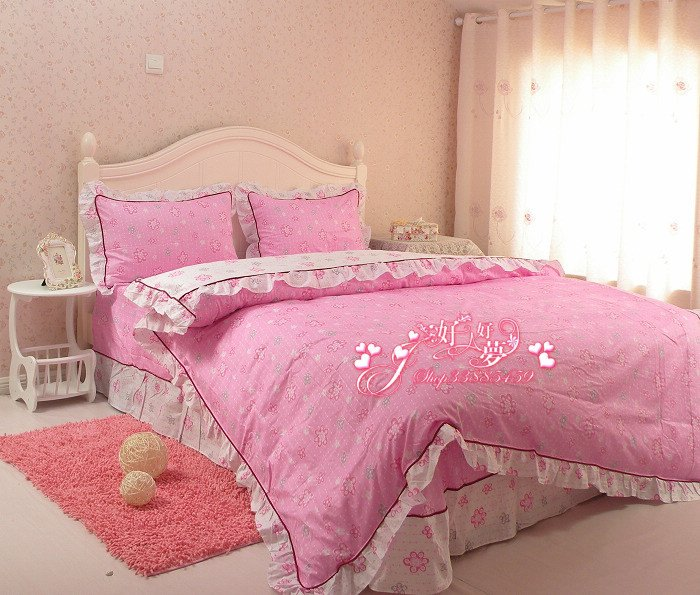 Free Shipping 100% Cotton Big Pink Flower Design Bedding Set Luxury Oil  Painting Duvet Cover/ 4pcs Bed Sheet Set/bed Linen In Bedding Sets From  Home ...