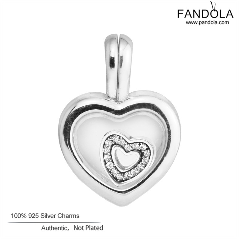 Pandora Charms Білезік 925 Sterling күміс жүрегі Floating Locket Beads Charms DIY Білезік Jewelry Making Berloque