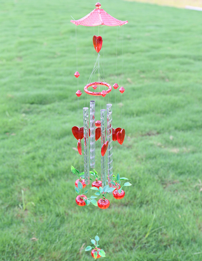 free shipping hand crafts large home decor diy red apple acrylic 4 metal tubes wind chime bells gifts door yard hangings sound