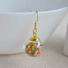 Yellow Pink Green Gypsophila Real flower in the glass ball dangling Handmade earrings gift for her