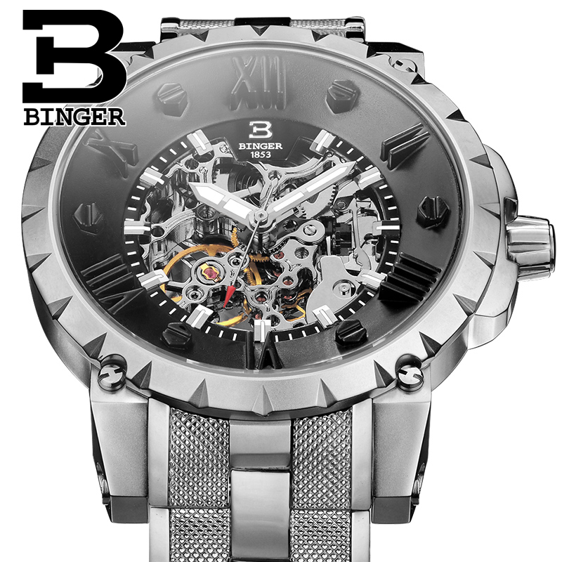 Men Wristwatches 3D Skeleton Dial Sapphire Male Clock Full Steel Strap Automatic Self-Wind Mechanical Watch BINGER Unique Desig shenhua brand black dial skeleton mechanical watch stainless steel strap male fashion clock automatic self wind wrist watches