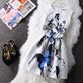 Corto Barato Del Vestido Femenino Del Verano de las mujeres Retro Floral Splice Ropa Mujer Femme Impreso vestido de festa Vestido de Trabajo de Oficina