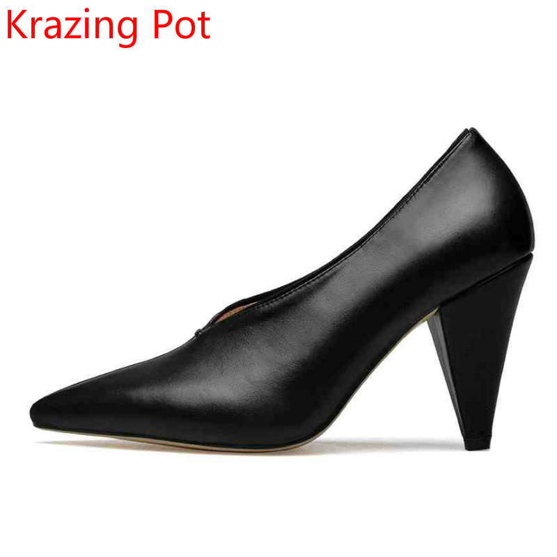 2017 Fashion Brand Shoes Genuine Leather Slip on Pointed Toe Concise Strange High Heels Wedding Shoes Sexy Women Cozy Pumps L73 brand shoes woman spring summer rainbow women pumps high heels fashion sexy slip on pointed toe thin heel party wedding shoes