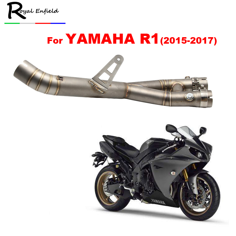 YZF R1 2015 Stainless Steel Mid Pipe Motorbike Motorcycle Middle Link Exhaust Muffler for YAMAHA YZF-R1 2015 2017 motorcycle yzf r3 exhaust muffler pipe stainless steel akrapovic motorbike muffler exhaust for yamaha yzf r3 2015 2016 2017