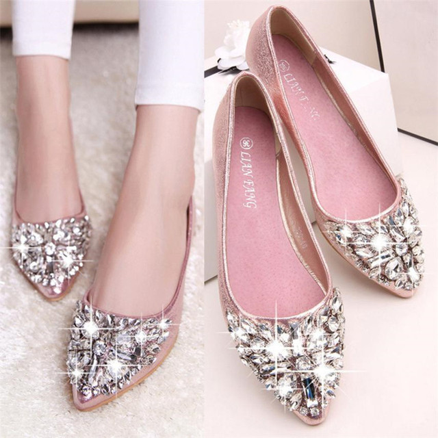 2018 New Summer Women s Pointed Toe Ladise Shoes Casual Rhinestone Low Heel  Shoes Fashion Shoes Woman 9cc821aace49