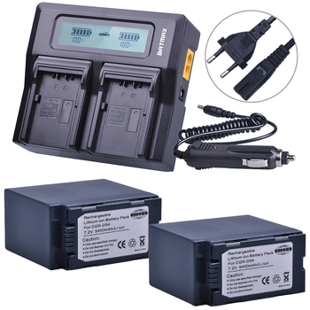 2PC CGR-D54 CGR D54 D54S Rechargeable Battery + LCD Rapid Dual Charger for Panasonic CGA-D54S Battery CGA-D220, CGA-D320 CGA-D54