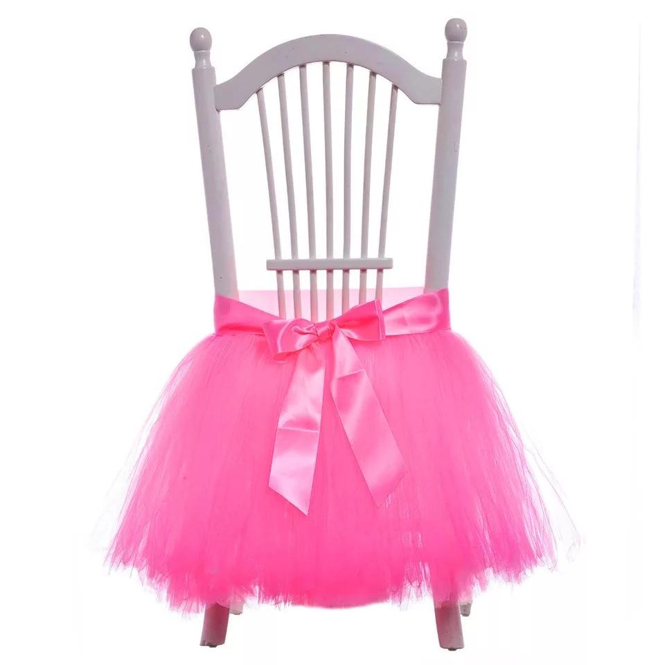 5pcs/lot 60CMx50CM Tulle chair skirt boy Baby Shower Decoration kids girl Birthday party decoration