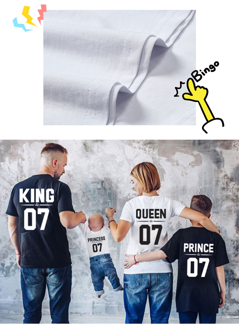 HTB1Wp2Ge8GE3KVjSZFhq6AkaFXa5 - Family Look Dad Mom Kid matching outfits mommy and me clothes mother daughter dresses Fashion T-Shits King Queen prince princess