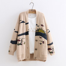 e019378b3 YoYiKamomo Winter Woman Sweater Knitting 2019 New Japanese Mori Girl V-neck Jacquard  Cardigan Sweater