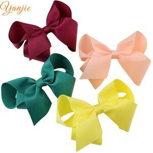 Image 5 - 30pcs/lot 4 Grosgrain Ribbon Hair Bows Hair Clips For Girls 2020 Solid Hairpins Hair Bow Women Headwear Kids Hair Accessories