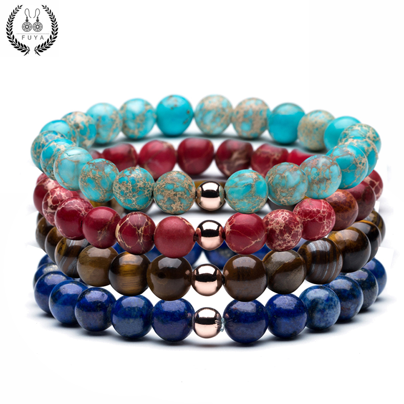 New natural stones beads bracelet men Trendy tiger eyes blue emperor red imperial green stone buddha bead bracelets for women