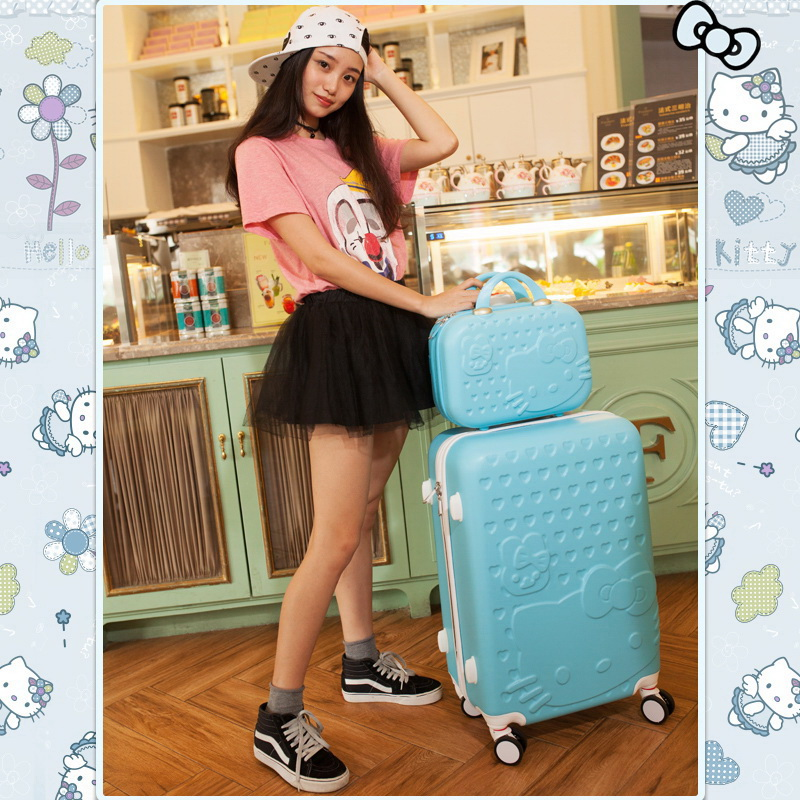 03ba1eb55706 2 pcs Set Beautiful 14-inch hello Kitty cosmetic bag 20 24 28inch students Travel  luggage trolley case a woman rolling suitcase - aliexpress.com - imall.com