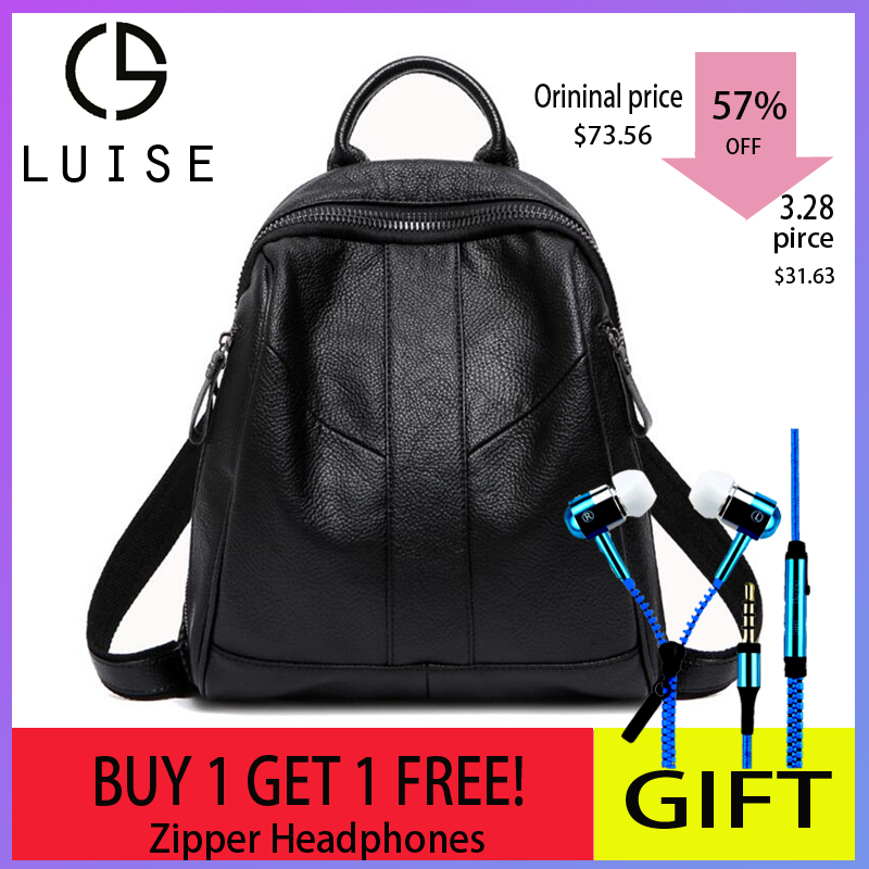 9bd576ca6d129 LUISE Brand Women s Real Leather Backpack Designer Ladies Backpack Korean  School Back Bags Fashion Bookbag Back Pack Femininas
