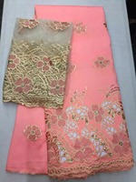 2017 Latest African George Lace High Quality Hot Sales Raw Silk George Lace Fabric For Party