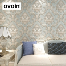 Distressed Wallpaper for Walls 3 d Vintage Non Woven Wallpaper Rolls Teal Blue Damask Wall Paper Floral for Bedroom 10m