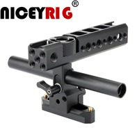 NICEYRIG Camera Cage Handle Grip NATO Rail 15mm Rod Clamp Cold Shoe for Sony for Panasonic for Nikon Video Camcorder Stabilizing