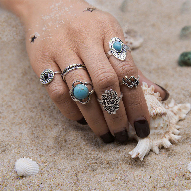 brixini.com - Neith™ 6PCS Vintage Boho Crystal Flower Knuckle Rings