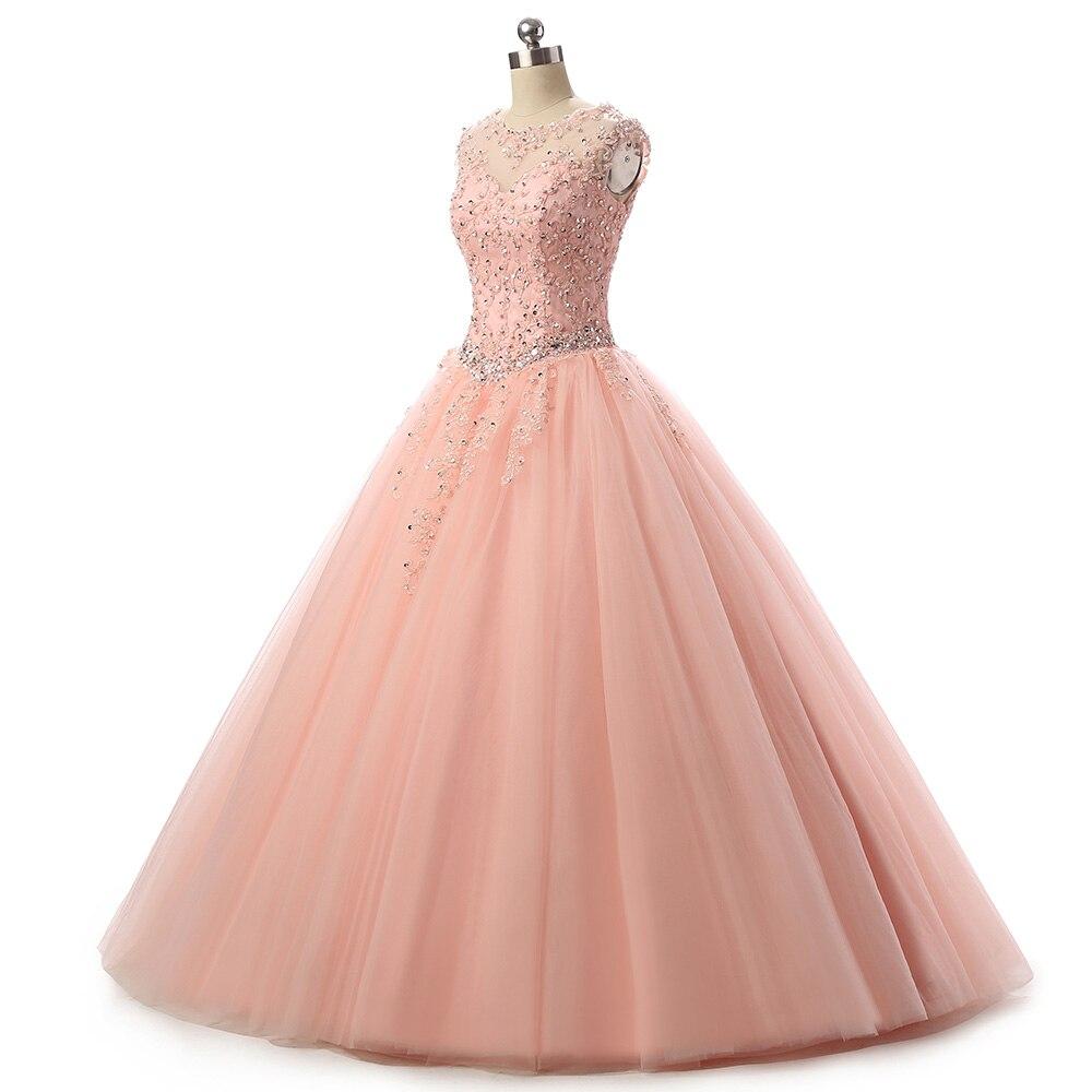 Cap manches Scoop Aqua écarlate Blush dentelle robe de bal robes de bal Quinceanera robe douce 16 vestido de festa debutante