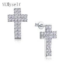 Крест серьги гвоздики со стразами 12 мм с квадратными кристаллами