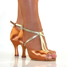 Latin Dance Shoes Women Ballroom Shoes Satin Square Dance Buckle Thin Heel Brown Female Brand Fitness Breathable Discount BD2369