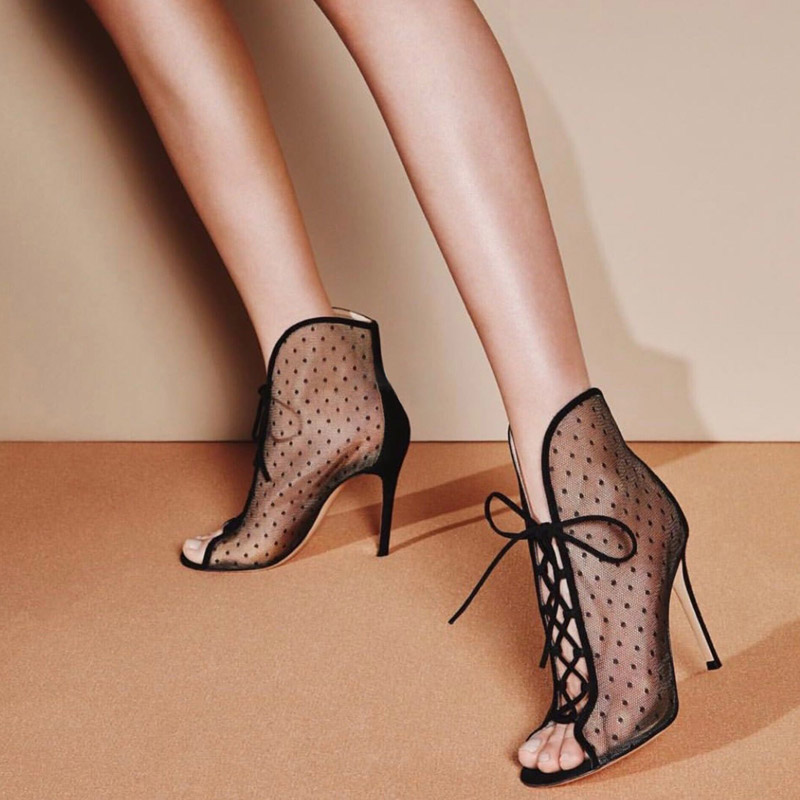 Fashionable Ankle Boots for Woman Sexy Stiletto Heel Women Peep Toes Shoes Female Lace-Up Party Dress High heels Booties fashionable see through lace asymmetric mini dress for women
