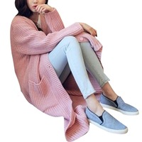 Women Loose Sweater Cardigan Autumn Winter 2017 Fashion Korean Elegant Long Sleeve Knee Length Cardigan Sweaters