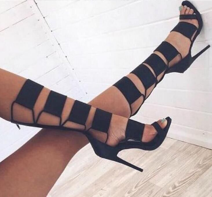 Hot Selling Black Cut-out Knee High Gladiator Sandals Boots For Women High Heel Buckle Summer Dress shoes woman Designer Pumps hot selling denim blue ankle strap buckle high heel sandals cut out thick heel gladiator sandals for women summer dress shoes