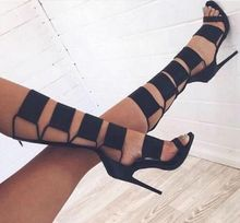 Hot Selling Black Cut-out Knee High Gladiator Sandals Boots For Women High Heel Buckle Summer Dress shoes woman Designer Pumps