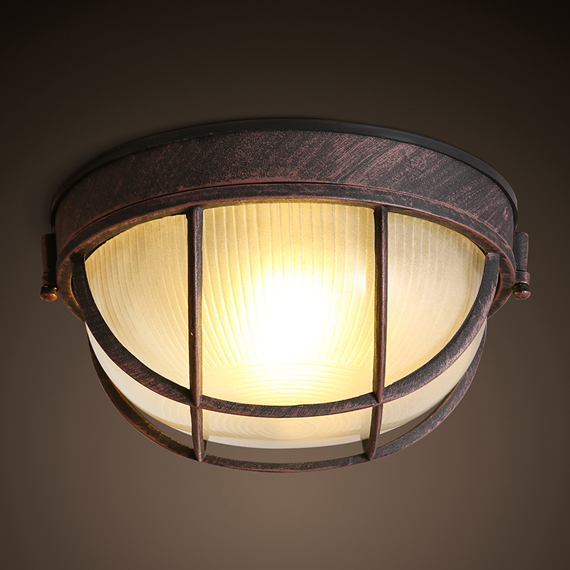 2017 Loft American Village Aisle Entrance Corridor Retro Iron Glass Circular Ceiling Light Bedroom Restaurant Home Decor Lamp loft vintage edison glass light ceiling lamp cafe dining bar club aisle t300