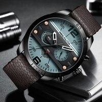 Megalith fashion sport men's watch men waterproof multifunction militray leather strap quartz men watch clock relogio masculino