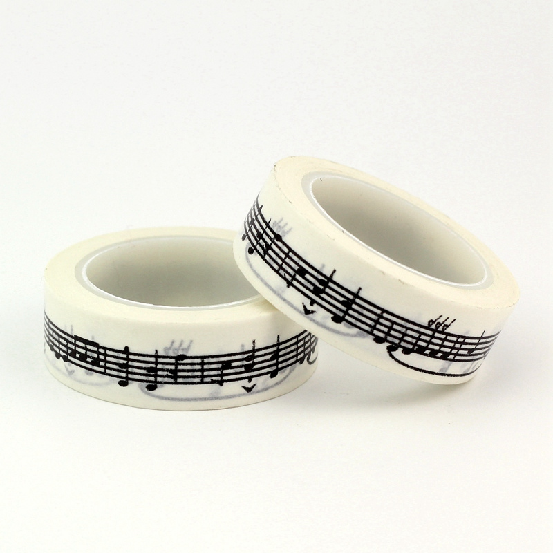 2pc Black And White Music Note Washi Tape Japanese Paper DIY Planner Masking Tape Adhesive Tapes Stickers Decor Stationery Tapes