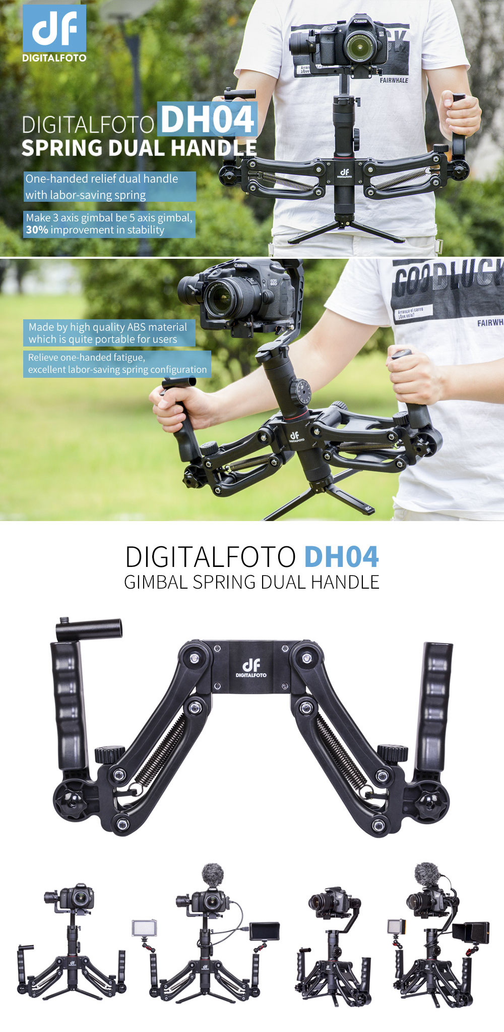 Spring Is In Air Cranes Are Returning >> Dh04 3 Axis Gimbal Stabilizer Spring Dual Handle 4 5kg Weight Bear