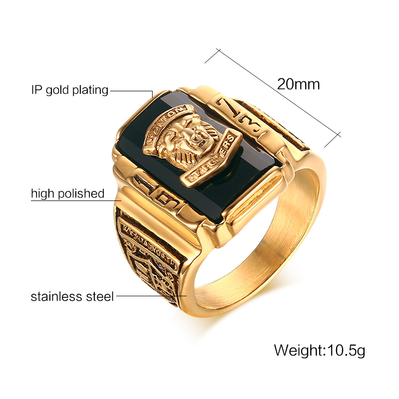 Heyrock Mens Rock Punk Ring Golden Large Black CZ Stone Ring Men Jewelry Cool Lion Head School Party Rings