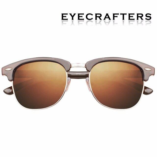 d1c9bc78d2d Brown Designer Inspired Classic Half Frame Horned Semi-Rimless Mens Womens  Fashion Sunglasses Polarized Retro Eyewear 3016