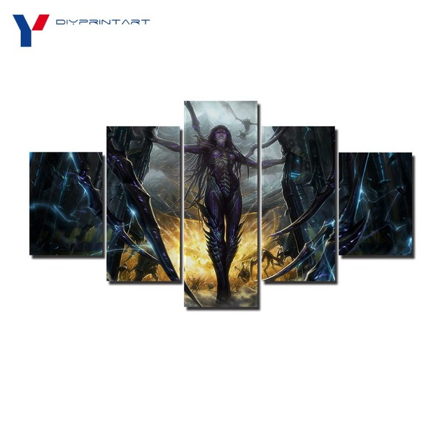 StarCraft 2 Heart of The Swarm Game Poster 5 Panels Art Painting Living Room Decoration A0096