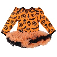 Czaszka Dynia Pomarańczowy Halloween Kostiumy Dla Dzieci Z Długim Rękawem Baby Girl Sukienka Koronki Tutu Romper Kombinezon Macacao Bebe Newborn Odzież