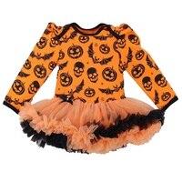 Schädel Kürbis Orange Baby Halloween Kostüme Langarm Baby Strampler Kleid Spitze Tutu Overall Macacão Bebe Neugeborenen Kleidung