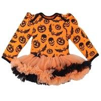 Skull Pumpkin Orange Baby Halloween Costumes Long Sleeve Baby Girl Romper Jumpsuits Macacao Bebe Newborn Clothing