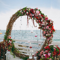 Customized 210/170/130cm artificial flower with metal wedding arch stand decor for party wedding backdrop iron arch+flowers set