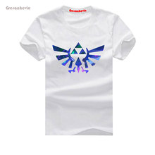 The Legend of Zelda Triforce Blue New Fashion Man T-Shirt Cotton O Neck Mens Short Sleeve Mens tshirt Male Tops Tees Wholesale