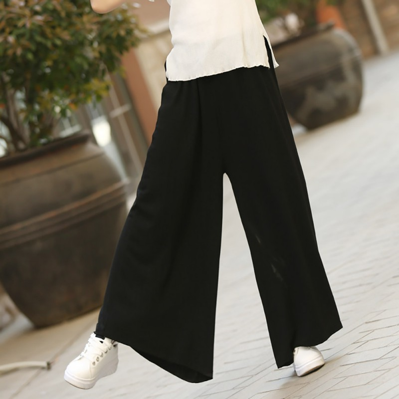 Women Wide Leg Pants Summer Loose Drawstring Casual Ankle Length Ladies Trousers Women Fashion Solid High Waist Long Pants in Pants amp Capris from Women 39 s Clothing