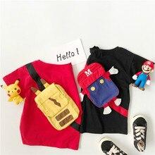 girls tops Childrens creative T-shirt 2019 summer cotton boy cartoon girl cute backpack