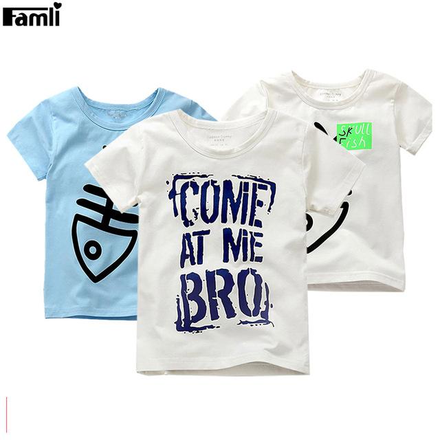 Famli bebê meninos t-shirt do verão 2017 crianças menino moda verão de manga curta impresso camiseta de algodão tops 3y-12y crianças camiseta roupas