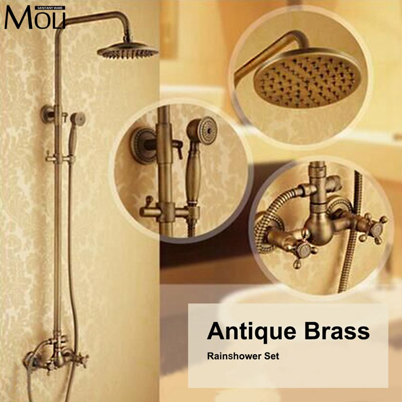 Antique Shower Set Wall Mounted Shower Faucet with 8 inch Shower Head + Hand Shower