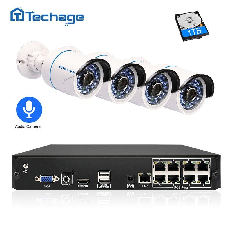 Techage 8CH 1080 p POE NVR Kit 2.0MP CCTV 4 piezas grabar Audio sonido cámara IP P2P al aire libre sistema de vigilancia de vídeo