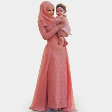 High Quality Fashion Scoop Long Sleeved Pink Lace Muslim Evening Dresses Floor Length Hijab Evening Dresses Vestido De Gala