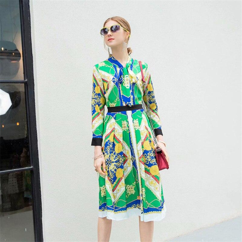 466a98aa606a Femme Piste Dress Col Longues Nouvelle Vêtements Robes 2019 À Abstrait  Femmes Robe Arc Élégant Mode Vert ...